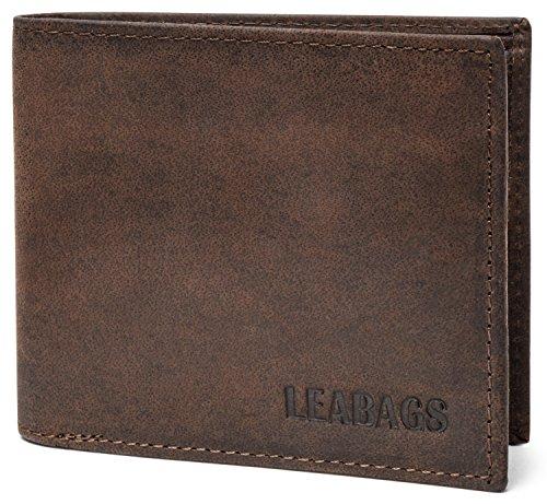 LEABAGS Toledo Geldbeutel aus echtem Büffel-Leder im Vintage Look - Muskat