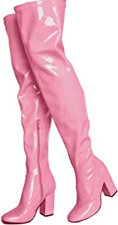 pink glitter thigh high boots