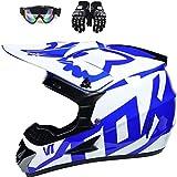 Desire Sky Dot Youth & Kids Motocross Offroad Street Helmet Blue Flame Motorcycle Youth Helmet Dirt Bike Motocross ATV Helmet+Goggles+Gloves,Blue,M
