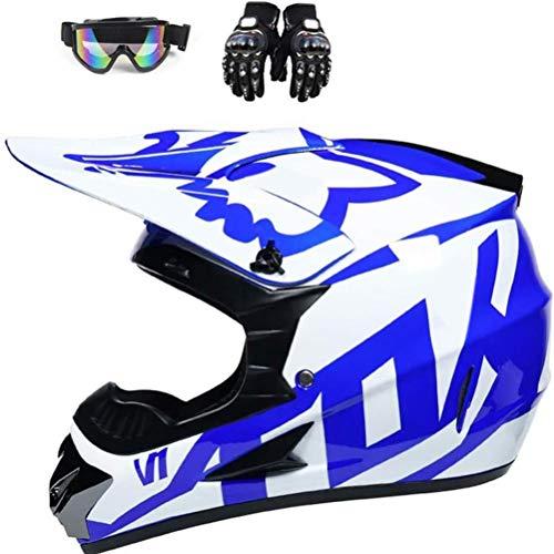 Yisimo Casco de Motocross Unisex Casco Casco Completo con Gafas Gloves Crash Motorbike Casco Mountain Bike Casco para Niños Adulto