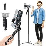 K&F Concept-Palo Selfie Aleación de Aluminio, Monopié Extensible 29-170cm con Mango de Equilibrio,Selfie Stick Bluetooth Trípode Portátil con Control Remoto,Compatible con Cámara Deportiva, Móvil