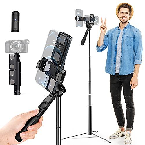 K&F Concept A200 Bastone Selfie Treppiede , 170 CM Selfie Stick Estensibile in Alluminio con Due Clip per Smartphone e Telecomando Bluetooth , Rotazione a 360° per iPad iPhone Samsung Galaxy Huawei