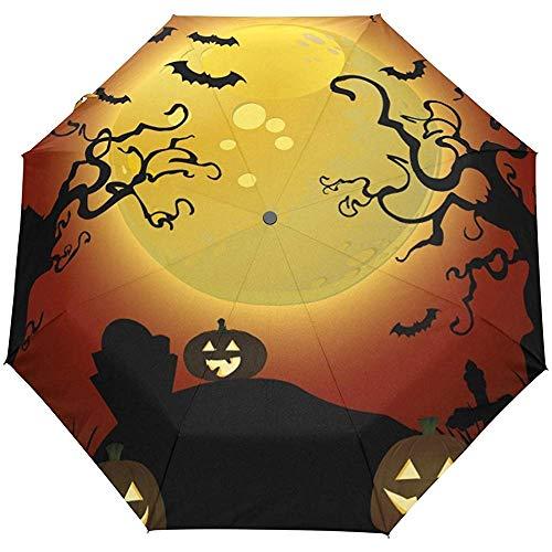 Halloween Jack O 'Laterne Fledermaus Regenschirm Auto Open Close Windproof Compact