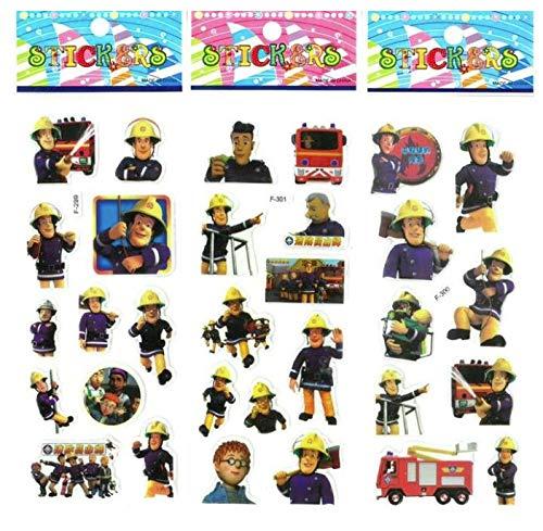 6 Vellen Brandweerman Sam Stickers Speelgoed Voor Kinderen Home Wall Decor Op Laptop Leuke Cartoon Mini 3D Foam Sticker Geschenken Speelgoed
