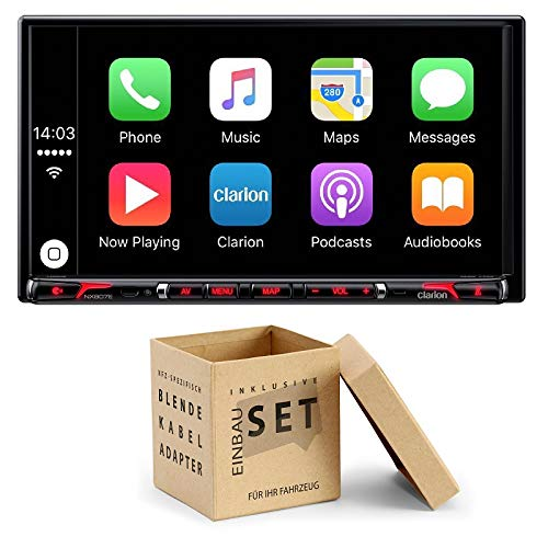 Clarion NX807E Radio Navigation Apple CarPlay mit Einbauset für Mercedes C Klasse W204 Facelift 2011-2013
