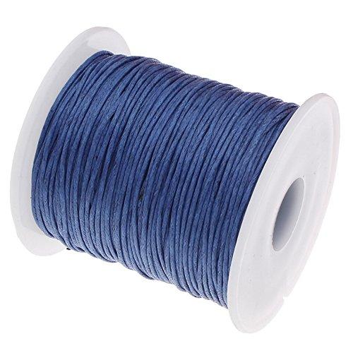 My-Bead algodón cuerda encerada trenzado diámetro Ø 1 mm rollo con 90 m azul calidad superior DIY