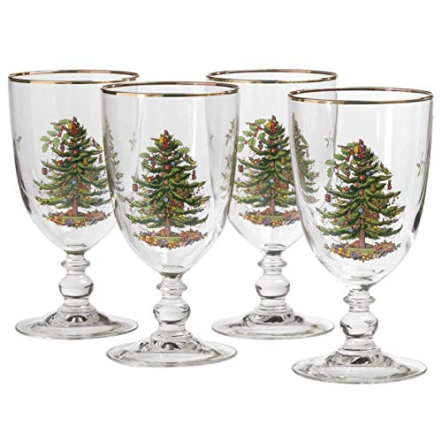 Spode Christmas Tree 16-Ounce Pedestal Goblets