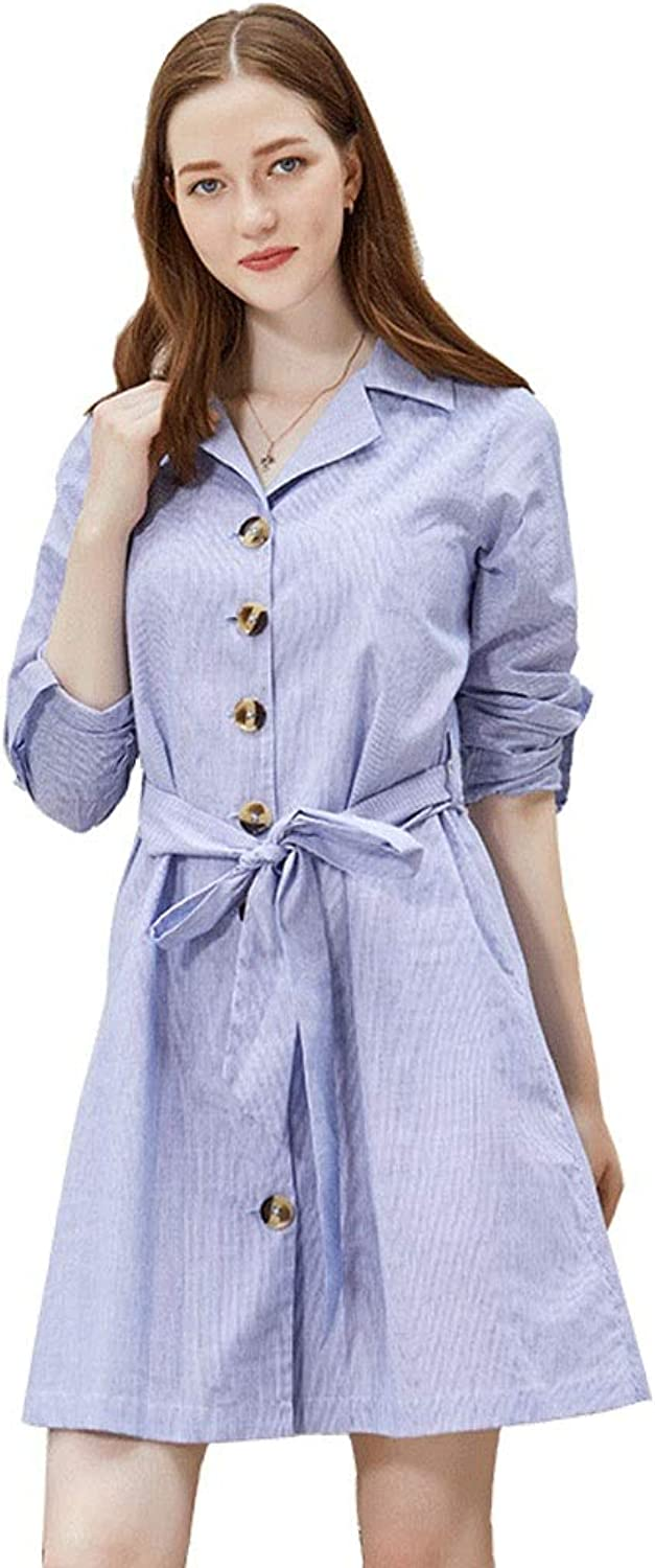 Casual Breastfeeding Dress Adjustable Sleeves Dress Maternity Business Skirt Pregnant Women Summer Dress Wear to Work (color   bluee, Size   M)