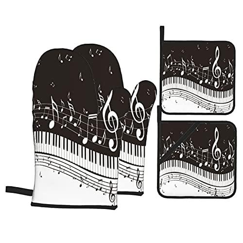 Juego de 4 Manoplas para Horno y Soportes para ollas,ilustración Abstracta de Teclas de un Piano con Fondo de Notas Musicales,Guantes de poliéster para Barbacoa con Forro Acolchado,