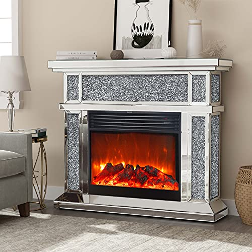 Mirrored Electric Fireplace, Fireplace Mantel Freestanding Heater Firebox with Remote Control, 3D Flame, 750/1500W