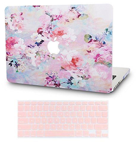 KECC MacBook Pro 13' Case (2020) w/ UK Keyboard Cover Plastic Hard Shell A2289/A2251 Touch Bar (Flower 7)
