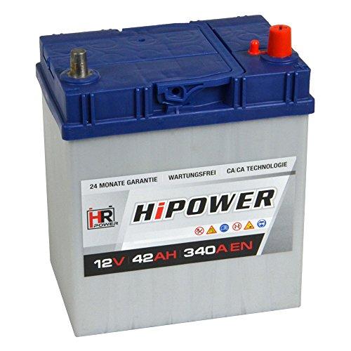 HR HiPower Autobatterie 12V 42Ah ASIA Japan Starterbatterie ersetzt 35Ah 40Ah 45Ah