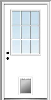 National Door Company ZZ00731R Steel Primed, Right Hand in-Swing, Prehung Front Door, 9 Lite with Pet Door, Clear Glass, 30