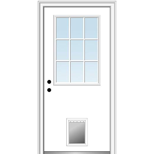 National Door Company Zz00519l Fiberglass Smooth Primed Left Hand In Swing Prehung Front Door 9 Lite With Pet Door Clear Glass 30 X 80 Amazon Com Industrial Scientific