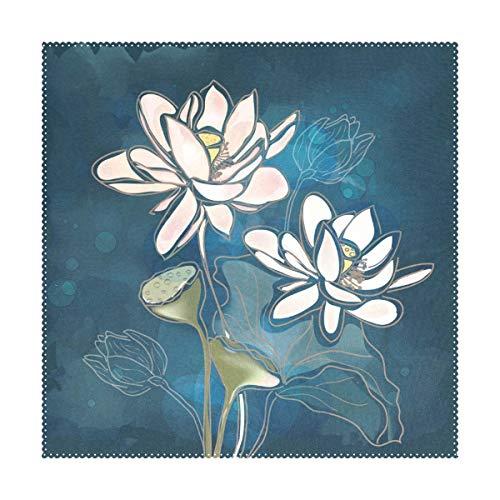 MONTOJ Tischsets mit Hibiskusblüten und Seerosen für Esstische, waschbar, 30,5 x 30,5 cm, 4 Stück