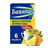 Theraflu Multi-Symptom Severe Cold Hot Liquid Powder Tea Infusions Green Tea and Honey Lemon Flavors 6 Count Box