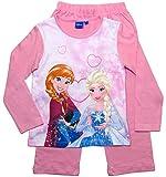 Frozen - Die Eiskönigin Mädchen Schlafanzug ELSA Pyjama (Rosa-Weiß, 110-116)