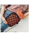 MelissaWomen Bags Yellow Leather Cute Handbag Lovely Pineapple Girl Messenger Bag With Chain Hollow Out Pu Mini Purse Orange 14Cmx7Cmx16Cm
