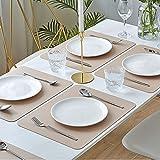 MORROLS Tischsets Abwaschbar, Tischset Leder 6er Set Abwischbar Lederoptik Kunstleder Wasserdicht PVC Platzset, Platzdeckchen für Küche Speisetisch, 42x30cm - 2