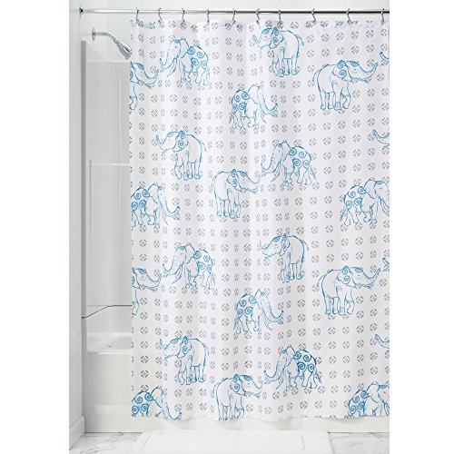 iDesign 67120EU Rideau de Douche en Tissu Elephant-182, 182,9 cm, Bleu, Polyester, Gris/Blue, 182,9 x 182,9 x 0,4 cm