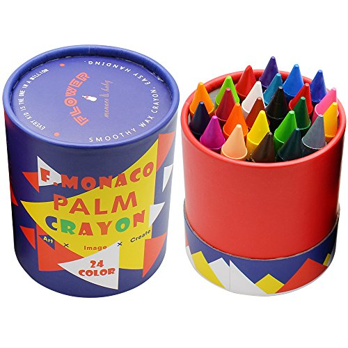 Toddler Crayons, 24 Colors Non Toxic Crayons for Kids Ages 2-4, Easy to Hold Jumbo Crayons for Kids, Safe for Babies and Children Flower Monaco