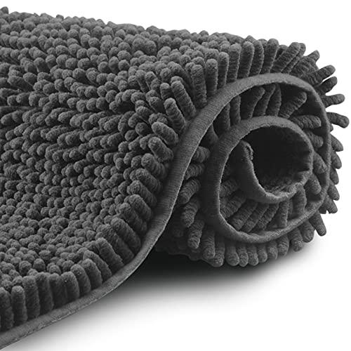 FCSDETAIL Alfombras de Baño de Pelo Largo Antideslizantes 60X90 cm, Tapete para el Piso Lavable a Máquina con Microfibra de Chenilla Absorbente de Agua Suave para Bañera, Ducha y Baño