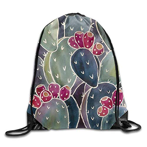 Cactus Painting Outdoor Drawstring Backpack Bags Pack Cinch Tote Sport Gym Sack Polyester Traveling Bag for Men/Women and Kids
