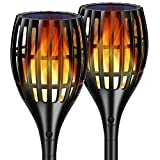 TomCare STL01 2nd Version Flickering Flame Torches Waterproof Outdoor Solar Powered Pathway Landscape Decoration, 2 Pack, Lighting Auto On/Off for Garden Patio Yard