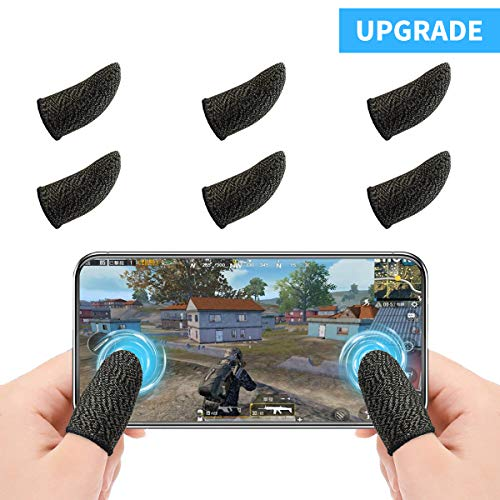 Newseego PUBG Mobile Game Finger Sleeve[6 Pack], Touchscreen Fingerhülse Atmungsaktiv Ultradünn Anti-Sweat Fingerset Empfindliche Shoot-&Ziel-Tasten für Überlebensregeln/Knives Out für Android & IOS