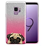 WIRESTER Case Compatible with Samsung Galaxy S9 5.8 inch, Shiny Sparkling Silver Pink Gradient 2 Tone Bling Glitter TPU Protector Cover Case for Galaxy S9 - Pug Puppy Dog