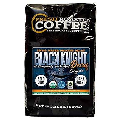 Fresh Roasted Coffee LLC, Black Knight Swiss Water Decaf Organic Coffee, Dark Roast, Whole Bean