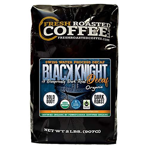 Fresh Roasted Coffee LLC, Black Knight Swiss Water Decaf Organic Coffee, Dark Roast, Whole Bean, 2 Pound Bag