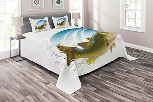 Ambesonne Fishing Coverlet, Largemouth Sea Bass Catching a Bite in Water Spray Motion Splashing Wild Image, 3 Piece Decorative Quilted Bedspread Set with 2 Pillow Shams, Queen Size, Green Blue