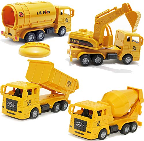 Toy Cars Mini Construction Trucks, Pull Back Cars Excavator Dump Trucks Cement Mixer Tank Truck, 4 Packs, 2,3,4,5,6 Year Olds and up, Boys Girls Toddler Kids Indoor Outdoor Gifts Party Favors