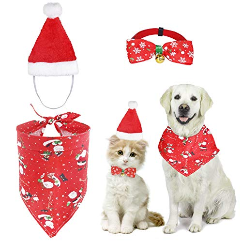 3 Pack Christmas Cat Dog Santa Hat, Xmas Dog Bandana and Bow Tie Dog Collar for Puppy Kitten Pet Costume
