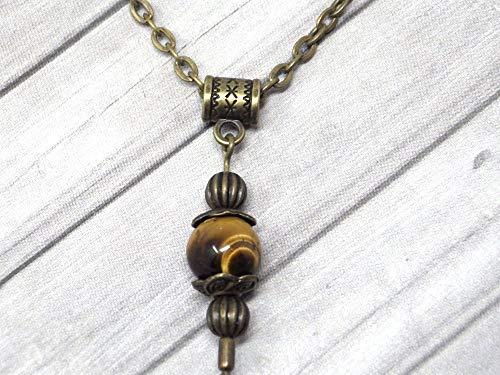 Collar con colgante de estilo vintage para mujer en ojo de tigre marrón montado sobre una cadena de bronce antiguo
