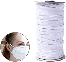 85 Yards Length 1/4 Inch Width Braided Elastic Band White Elastic Cord Heavy Stretch High Elasticity Knit Elastic Band for Sewing Crafts DIY, Mask, Bedspread, Cuff (White)