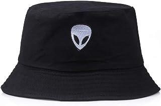 Bordado Extraterrestre Sombrero de Pescador Hombres y Mujeres Moda Hip Hop Gorro de Lavabo Multifunción de algodón Top Plano Sombrero para el Sol (Color : Black)