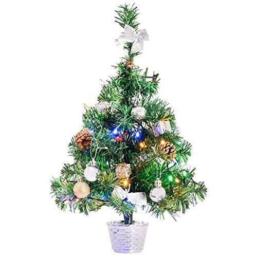 GloBrite Mini Christmas Tree 45cm Pre Lit Christmas Tree with Multi colour LED Lights Mini Desktop Xmas Trees Decorated with Ornaments