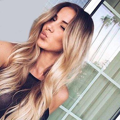 Mzp Damen Synthetische Perücken Kappenlos Lang Wellig Blond Gefärbte Haarspitzen Ombré Hair Dunkler Haaransatz Mittelscheitel Natürliche Blonde Amazon De Beauty