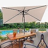 Bumblr Rectangular Patio Umbrella 6.5x10ft Outdoor Market Table Umbrella with Push Button Tilt&Crank Wind Resistant UV...