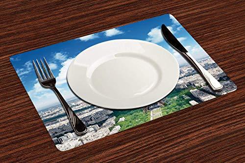 Manteles Individuales, Decoración de París, Vista aérea del horizonte de la Torre Eiffel ,Mantel Individual Antideslizante Lavable Resistente Al Calor para Hoteles Restaurante Catering (Paquete de 4)