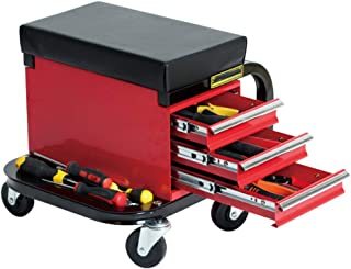 GFYWZZ Mobile Workshop Stool with Wheels and 3 Drawers Storage, Load Capacity Approx. 135 Kg, 39 X 37 X 37 cm