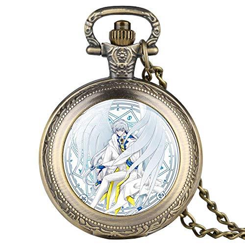 DZX Reloj de Bolsillo Retro de Moda para Hombre, Relojes de Bolsillo con patrón de Personajes de Dibujos Animados para niño, Reloj de Bolsillo de Regalo Creativo con Cadena para Adolescente