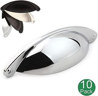 Koofizo Bin Cup Drawer Pull - Chrome Cabinet Handle, 64mm / 2.5 Inch Screw Spacing (10 Pack) for Kitchen Cupboard Bedroom Dresser Bathroom Furniture Door