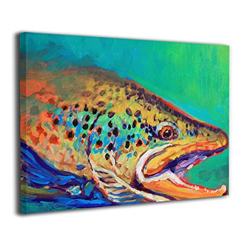 Olverz Brook Trout Fly Fishing Framed Painting 12x16in Canvas Prints Classic Art Reproductions Modern Painting Wall Art Pictures Paintings For Living Room Office Home