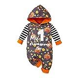 SOONHUA Mono para bebé, recién nacido, con capucha, para el día de Acción de Gracias, mameluco de fibra de leche, de manga larga, con capucha, traje cálido para bebés y niñas, naranja, 12-18 Meses