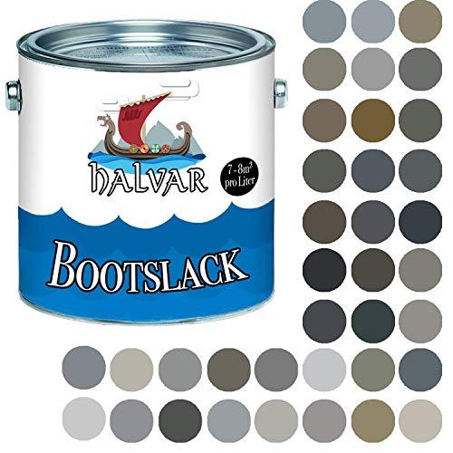 Halvar Bootslack Grau RAL 7000-7047 Yachtlack SEIDENMATT Bootsfarbe PU-verstärkt für Holz & Metall verstärkt extrem belastbar hochelastisch Schiffslackierung (2,5 L, RAL 7046 Telegrau 2)