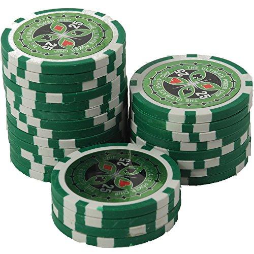 suplaya 50 Pokerchips 13g Clay (Ton) Laser Metallkern Ultimate hochwertige Markenware einzigartig (grün - Wert 25)