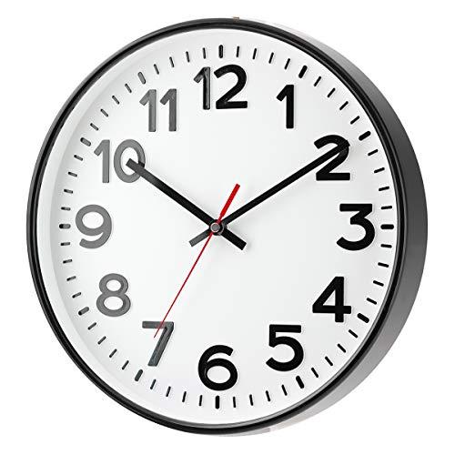 Eurotime Funk Wanduhr mit erhabenen Ziffern schwarz/weiß Uhrwerk: Schritt-Sekunden Uhrwerk